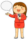 TV reporter. Cartoon female reporter holding a microphone Royalty Free Stock Photography