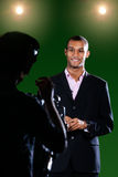 TV Reporter in Green Screen Studio Royalty Free Stock Photography