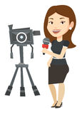 TV reporter with microphone and camera. Royalty Free Stock Image