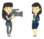 TV reporter and operator vector illustration. Stock Photo
