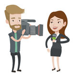 TV reporter and operator vector illustration. Caucasian female reporter with microphone presenting the news. Hipster operator filming reporter. Reporter and Royalty Free Stock Photos