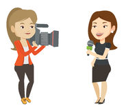 TV reporter and operator vector illustration. Caucasian female reporter with microphone presenting the news. Young operator filming reporter. Reporter and Royalty Free Stock Image