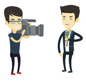 TV reporter and operator vector illustration. Stock Photography