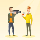 TV reporter and operator vector illustration. Royalty Free Stock Photography