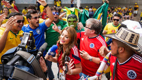 TV reporter overwhelmed by World Cup soccer fans Royalty Free Stock Photo