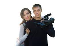 TV reporter and teleoperator Stock Photography