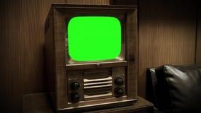 TV retra con la pantalla verde almacen de metraje de vídeo