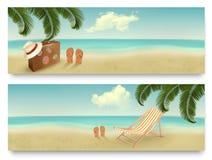 Två retro baner för sommarsemester. Arkivbilder