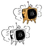 TV retro broken cartoon illustration Stock Photography