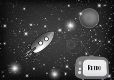 Tv with retro rocket. Retro tv with retro rocket in space Royalty Free Stock Images