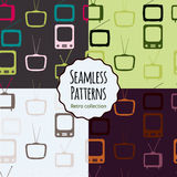 Tv retro seamless patterns set. Colorful abstract  background. Royalty Free Stock Photos