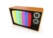 TV retro su un'illustrazione bianca del fondo 3D, rappresentazione 3D Fotografie Stock