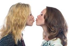 Två roliga kyssande systrar Arkivbild