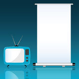 TV and roll up on blue background illustration Stock Photo