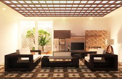 Tv room floor wood tiles on wall design, with wooden cabinet and decoration liveing, 3D rendering royalty free illustration