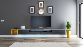 Tv room interior design idea. Tv room, salon or living room with covered wallpaper wall plant and black tv stand design 3d rendering Stock Photo