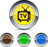 TV round button. TV glossy round web buttons vector illustration