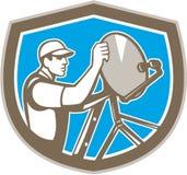 TV Satellite Dish Installer Shield Retro Royalty Free Stock Photos