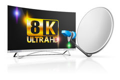 TV and a satellite dish Royalty Free Stock Photos