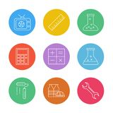 Tv , scale , beaker ,calculator , maths , chemical flask , paint stock illustration
