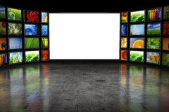 Tv screeen with images Stock Photography