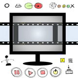 TV screen blank film strip frame and hand drawn doodle. LED TV screen blank film strip frame and hand drawn doodle buttons Stock Images