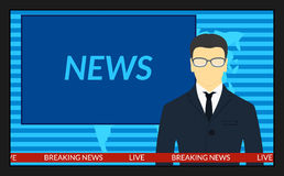 TV screen with the breaking news Royalty Free Stock Photography