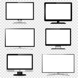 TV screen and computer monitor set isolated on transparent background vector illustration
