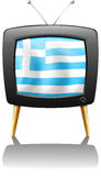 A TV screen with the flag of Greece Royalty Free Stock Images