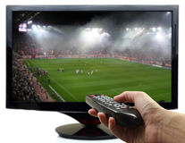 Tv screen with football match Royalty Free Stock Image