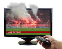 Tv screen with football match Stock Photos