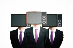 TV screen headed businessmen vector illustration