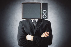 TV screen headed man. Obsolete TV screen headed man on concrete background. Mock up, 3D Rendering Stock Photo
