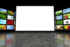 Tv screen with images Royalty Free Stock Image