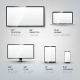 TV screen, Lcd monitor, notebook, tablet computer Royalty Free Stock Photos
