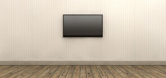 Tv Screen Mounted On Paper Wall. An old styled striped wallpapered walll with brown skirting and wooden floors with a modern lcd television mounted on the wall Stock Image