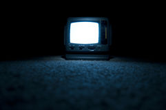 TV Screen on at night Stock Photo
