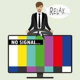 On the TV screen, no signal, a man sitting in the lotus position Royalty Free Stock Image