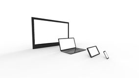 TV screen, notebook, tablet, smartphone Royalty Free Stock Images