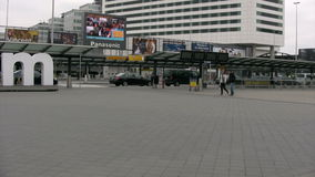 TV screen outside of Amsterdam airport. Huge TV screen outside of Amsterdam airport stock video footage