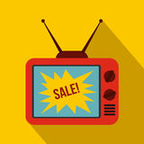 TV screen with Sale text icon, flat style Royalty Free Stock Photography