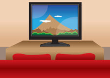 TV screen with sofa Royalty Free Stock Photography