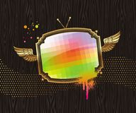 TV screen in vintage golden winged frame Stock Image