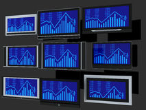 TV screens. Few widescreen TVs. 3d render. On grey background Stock Image