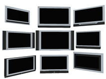 TV screens. Few widescreen TVs. 3d render. On white background Stock Image