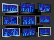 TV screens. Few widescreen TVs. 3d render. On grey background Royalty Free Stock Photography
