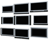 TV screens. Few widescreen TVs. 3d render. On white background Stock Photos