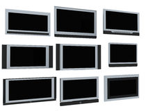 TV screens. Few widescreen TVs. 3d render. On white background Royalty Free Stock Images