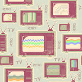 Tv seamless pattern.Vintage background on old text Stock Photo