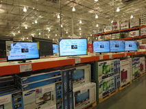 Tv display. Television display inside an American supermarket stock image